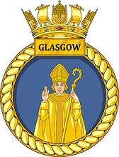 British Navy HMS Glasgow (D88), destroyer emblem (crest)
