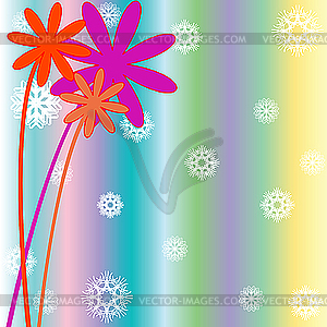 Christmas background with snow flakes, flowers and stripes - vector clip art