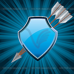 Shield with three arrows - vector clip art
