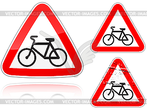 Intersection with the bike road - road sign - color vector clipart