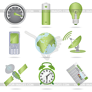 Miscellaneous green icons - vector image