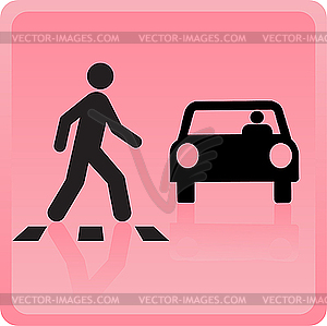 Icon the person crosses road and the car drops it - vector clipart