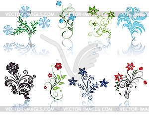 Berries and flowers - silhouettes - vector EPS clipart