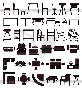 Furniture icons - vector clip art