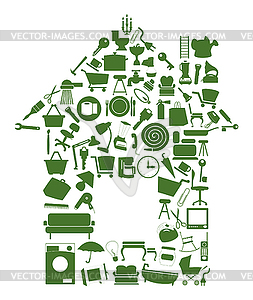 House of objects - vector clipart