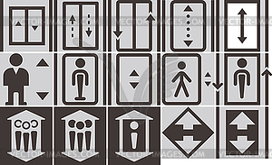 Elevator icons set - vector image