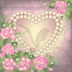 Valentine's Day background with heart and pearls - vector clipart