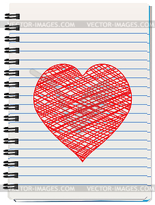 Vector notepad and heart - vector clipart / vector image