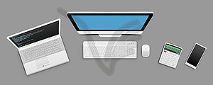 Modern business technology objects - vector clipart