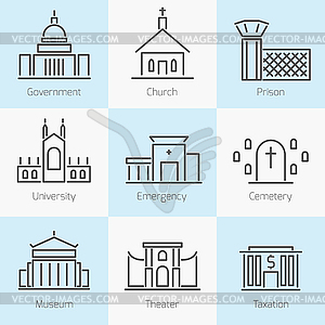 Set of government buildings icons - vector EPS clipart