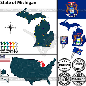 Map of state Michigan, USA - vector clip art