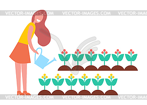 Woman Working in Garden with Flowers, Cartoon Icon - vector clipart
