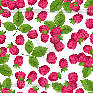 Seamless nature pattern with raspberries - vector clipart
