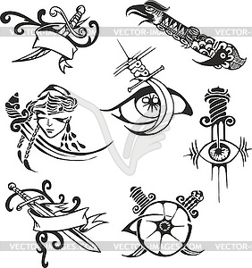 Set of tribal tattoo stencils with blades - vector image