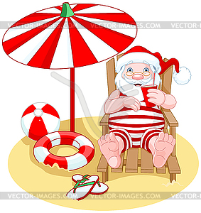 Santa Claus on Beach - vector clip art
