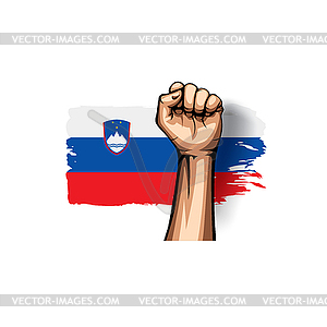 Slovenia flag and hand - vector clipart