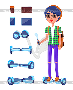 Young Teenager with Scooter Hoverboard Set - vector clipart