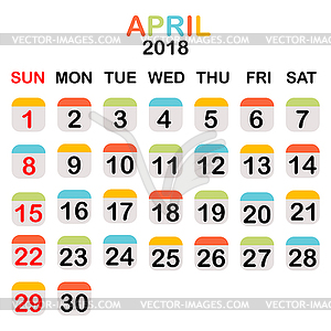 colored april 2018 calendar vector image