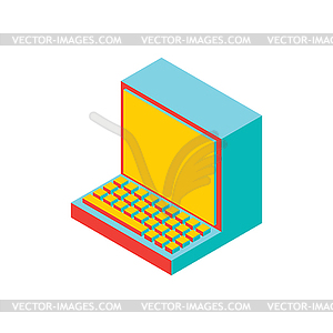 Old computer . Outdated PC. obsolete technology - vector image
