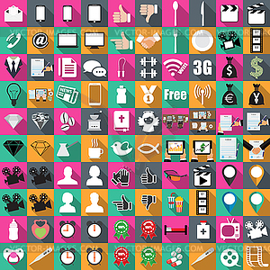 Icons of color in flat 100 pieces, business, - royalty-free vector image