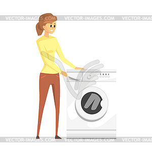 Woman Next To Washing Machine, Department Store - vector clipart